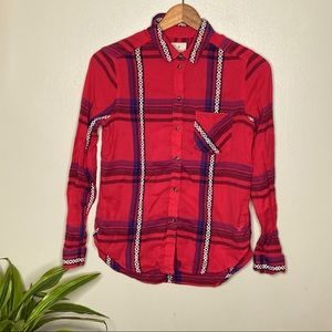 AEO Tribal Aztec Vintage Boyfriend Plaid Button Up